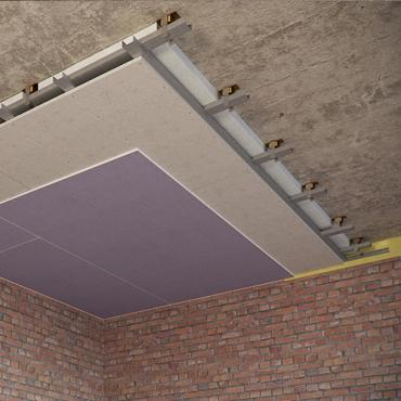 Каркасный звукоизоляционный потолок на подвесах Шуманет-коннект-ПП (115 мм) UA
