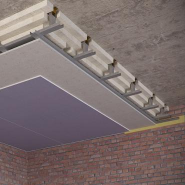 Каркасный звукоизоляционный потолок на подвесах Шуманет-коннект-ПП (200 мм) UA