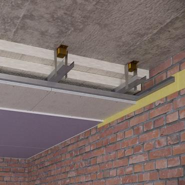 Каркасный звукоизоляционный потолок на подвесах Шуманет-Коннект-К15 (130 мм)