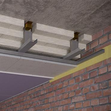 Конструкция подвесного потолка на виброкреплениях (200мм)